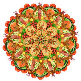 Sacred food pizza form mandala