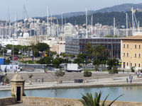 View over the Parc de la Mar to the harbour