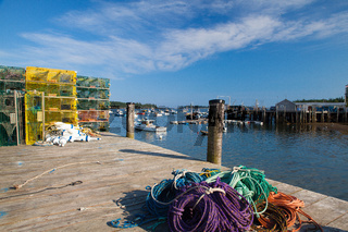 Crab farm and crab cages on Saint George Peninsula, Maine, USA