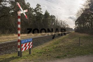 Unguarded railroad crossing