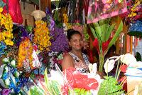 Flowerstand at Victoria market Seychelles
