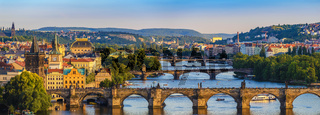 Prague city skyline panorama and Charles Bridge, Prague, Czech Republic