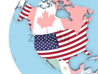 Flag of USA on political globe