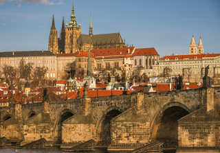 Charles Bridge close up and St. Vitus Cathedral in background