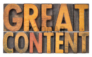 great content banner in wood type