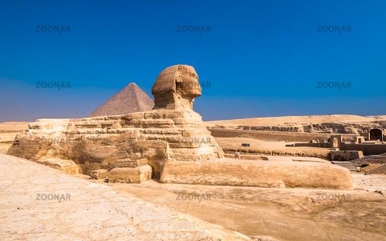 Sphinx and pyramids at Giza, Cairo