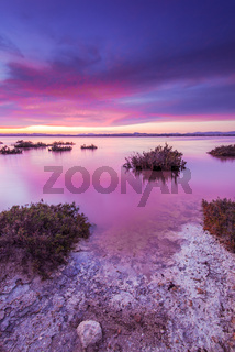 Laguna Salada in Torrevieja,Spain. Salted lake at sunset.
