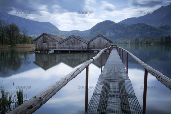 Old boathouses at Kochelsee, Bavaria