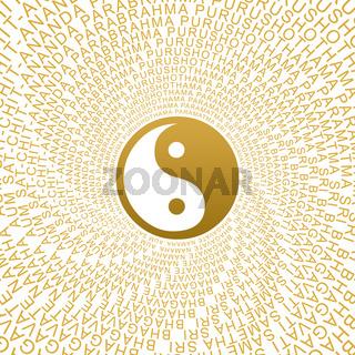 Goldenes Yin Yang Zeichen mit Moolamantra