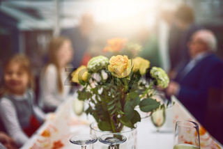 Vase of fresh flowers as a table centerpiece