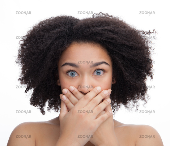 Portrait of a scared young beautiful african teenage, Isolated on white background