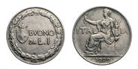 One 1 Lira Nichelio Coin 1922 Buono Vittorio Emanuele III Kingdom of Italy
