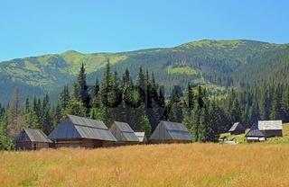 Eine Reihe alter Schäferschhütten auf der Chocholowska Lichtung, West Tatra, Polen