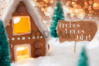 Gingerbread House, Bronze Background, Neues Jahr Means New Year