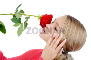 beautiful blond girl with a red rose