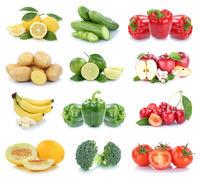 Obst und Gemüse Früchte Apfel Bananen Zitrone Tomaten Farben Collage Freisteller freigestellt isoliert