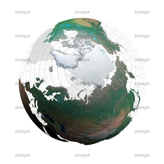 transparent globe with continents and degree network against a white background