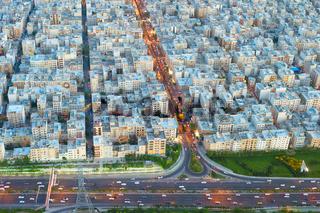 Tehran skyline aerial view, Iran