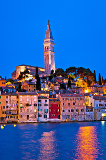 Town of Rovinj evening vertical view