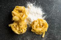 Raw tagliatelle pasta.