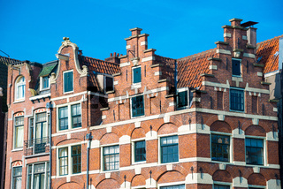 Traditional dutch old buildings in Amsterdam, the Netherlands