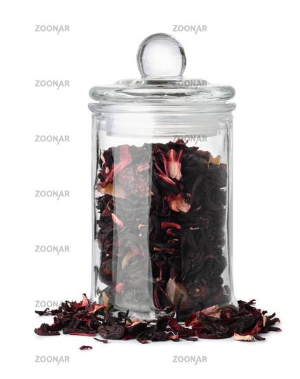 Glass jar with herbal tea