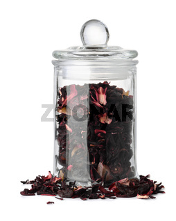 Glass jar with herbal tea
