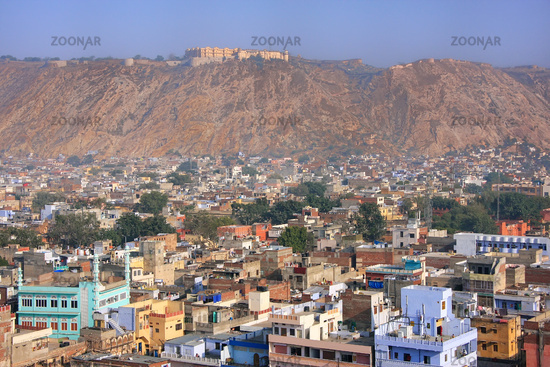 View of Nahargarh Fort and Jaipur city below in Rajasthan, India