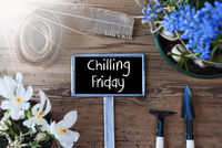 Sunny Spring Flowers, Sign, Text Chilling Friday