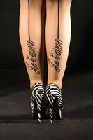 young woman with zebra high heels