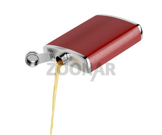 Pouring whisky from hip flask