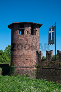 castle of legnano, a small town just outside milan, decorated for grabs with the flags of the eight districts