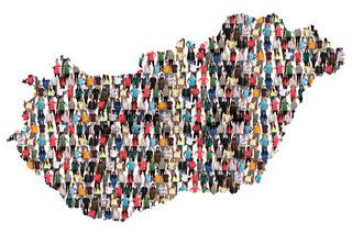 Ungarn Karte Leute Menschen People Gruppe Menschengruppe multikulturell