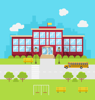 School Building, Background for Back to School