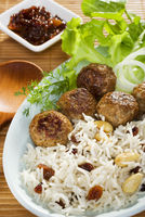 Indian Food Lamb Koftas with Basmati Rice and Salad