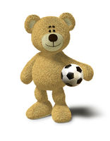 Nhi Bear holds a soccer ball