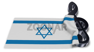 notenschlüssel und flagge von israel - 3d rendering