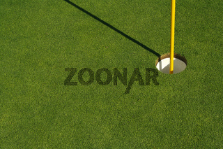 Lush, Freshly Mowed Golf Green & Flag