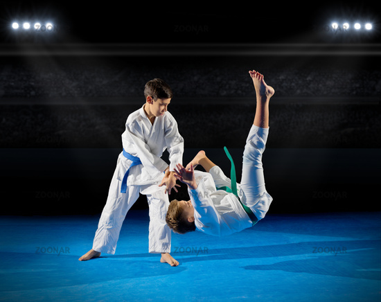 Boys martial arts  fighters at sports hall