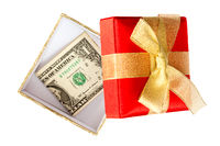 One dollar inside the gift box