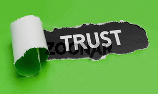 Torn green paper revealing the word Trust