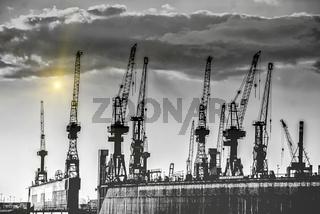 Hamburgs Hafenkräne im  Sonnenuntergang