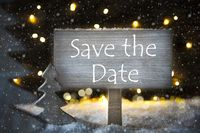 White Christmas Tree, Text Save The Date, Snowflakes