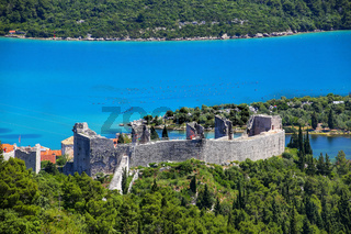 View of the fortress in Mali Ston town, Croatia