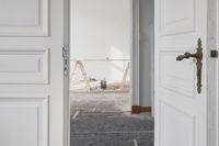 beautiful wooden doors in flat during  renovation  / restoration