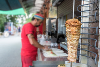 Cooking process of shawarma, traditional turkish meat, workflow