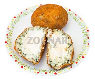spinach stuffed rice balls arancini on plate