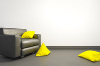 armchair with yellow pillows