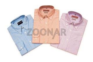 Various shirts isolated on the white background