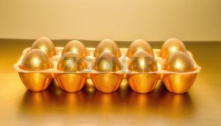 A tray of golden eggs, the concept of financial success